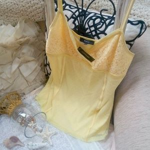 Express YELLOW Camisole Lace & SATIN SZ L New